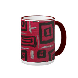Abstract Art Handpainted Rectangles Black on Red Coffee Mug