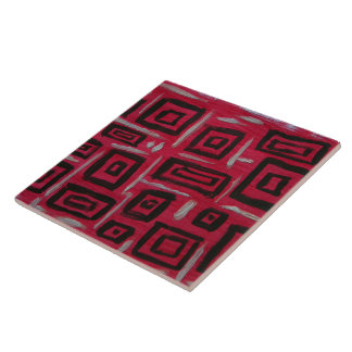 Abstract Art Handpainted Rectangles Black on Red Ceramic Tile