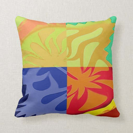 Abstract Art in 4 styles. Yellow,red,blue Pillows