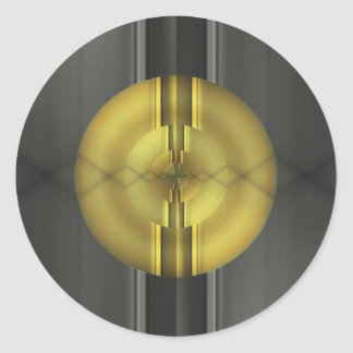 Abstract Art in grey yellow by Tutti Classic Round Sticker