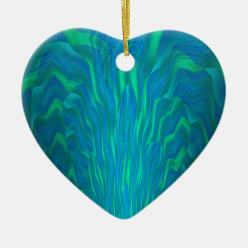 Abstract Art in Teal Green Blue Double-Sided Heart Ceramic Christmas Ornament