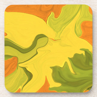 abstract art in yellow coaster