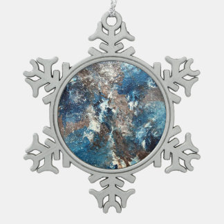 Abstract Art - Lamentation Snowflake Pewter Christmas Ornament