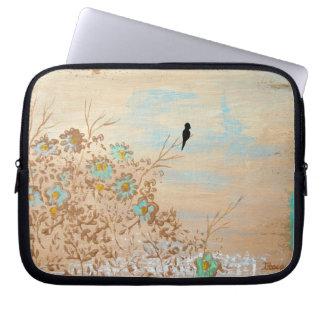 Abstract Art Landscape Black Bird Flowers Painting Laptop Computer Sleeve