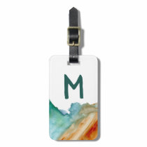 Abstract art luggage tag: custom initials red teal bag tag