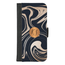 Abstract art marble paint copper gold monogrammed iPhone 8/7 plus wallet case