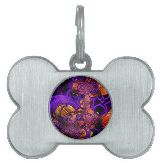 Abstract Art Metal Purple Orange Crochet Zizzago Pet Tags
