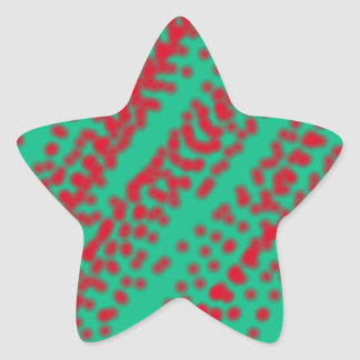 abstract art mint color with splashing red jam star sticker