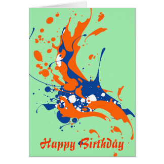 Abstract Art Mint Green Happy Birthday paint Card