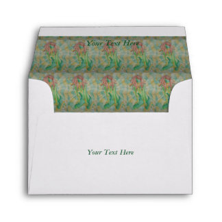 abstract art multicolored green posing lady retro envelope