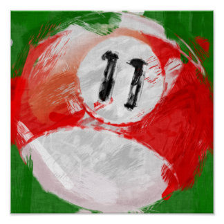 Abstract Art Number 11 Billiards Ball Poster