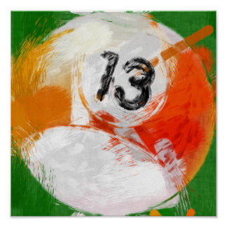 Abstract Art Number 13 Billiards Ball Poster