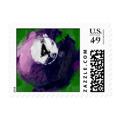 Abstract Art Number 4 Billiards Ball Postage Stamp