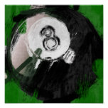 Abstract Art Number 8 Billiards Ball Poster
