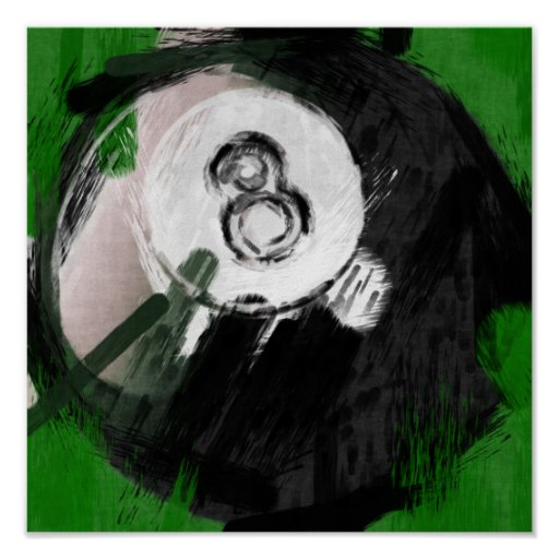 Abstract Art Number 8 Billiards Ball Posters