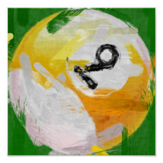 Abstract Art Number 9 Billiards Ball Poster