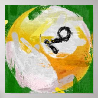 Abstract Art Number 9 Billiards Ball Print
