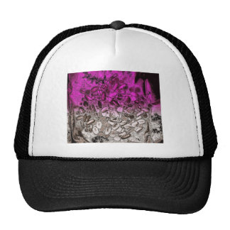 Abstract art of vitamins with purple tint mesh hats