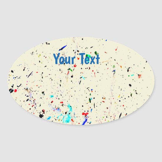 Abstract Art Paint Splashes and Spots Template Oval Sticker