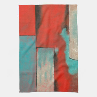 Abstract Art Painting Aqua Red Black Towel