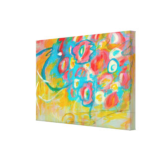 Abstract Art Painting Colorful Floral Flowers Stretched Canvas Prints