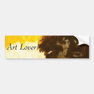 Abstract Art Painting Drips Splatters Yellow Brown Bumper Sticker