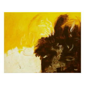 Abstract Art Painting Drips Splatters Yellow Brown Poster