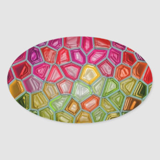 Abstract art painting posters cards t-shirts print oval sticker