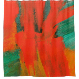 Abstract Art Painting Red Orange Green Gold Shower Curtain