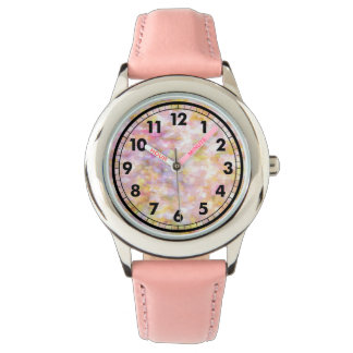 Abstract Art Pale Yellow Pastel Impressionism Wristwatch