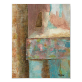 Abstract Art Pastel Painting Fantasy Castle Window Poster