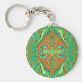 Abstract art pattern green & tan key chain