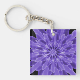 Abstract Art Periwinkle Flower Keychain