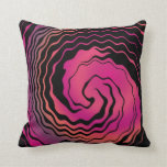 Abstract Art Pink and Balck Twirly Wave Throw Pillows