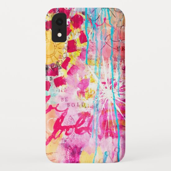 Abstract Art Pink Aqua Bold Vibrant Paint Splatter iPhone XR Case