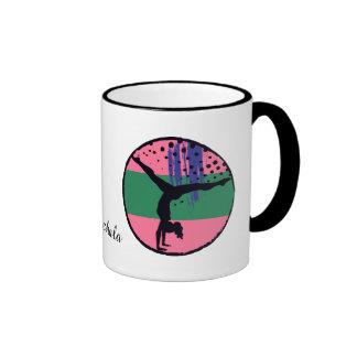 Abstract Art Pink Gymnast Personalized Ringer Mug