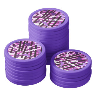Abstract Art Pink Purple Collage Poker Chips