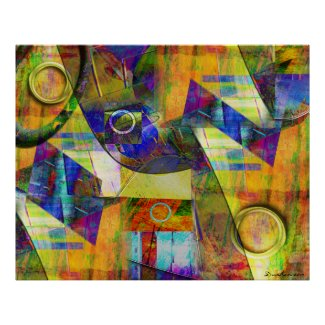 Abstract Art Poster-Let's Paint a Barn