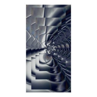 Abstract Art Poster Silver Plate Four