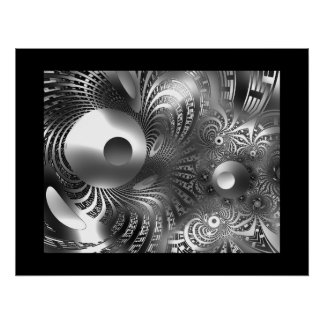 Abstract Art Poster Silver Space