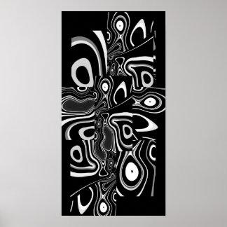 Abstract Art Poster Ultra Modern Black White 3
