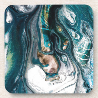 ABSTRACT ART PRINT TEAL WHITE COPPER DRINK COASTER
