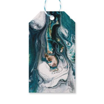 Beach Themed ABSTRACT ART PRINT TEAL WHITE COPPER GIFT TAGS