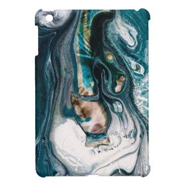 Beach Themed ABSTRACT ART PRINT TEAL WHITE COPPER iPad MINI COVER