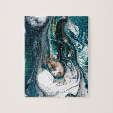 Beach Themed ABSTRACT ART PRINT TEAL WHITE COPPER JIGSAW PUZZLE