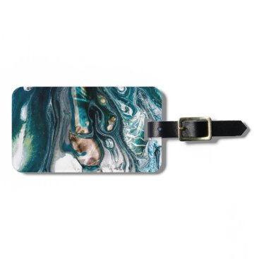 Beach Themed ABSTRACT ART PRINT TEAL WHITE COPPER LUGGAGE TAG