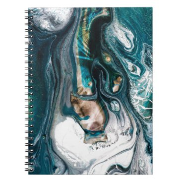 Beach Themed ABSTRACT ART PRINT TEAL WHITE COPPER NOTEBOOK