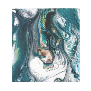 Beach Themed ABSTRACT ART PRINT TEAL WHITE COPPER NOTEPAD