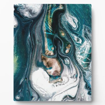 Beach Themed ABSTRACT ART PRINT TEAL WHITE COPPER PLAQUE