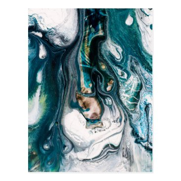 Beach Themed ABSTRACT ART PRINT TEAL WHITE COPPER POSTCARD